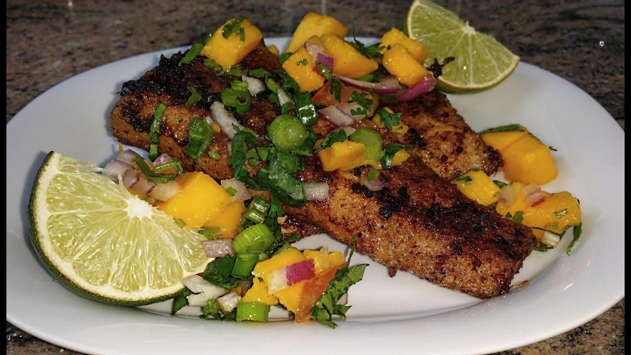 Pan Fried Fish Mahi Mahi Fillets With Mango Salsa