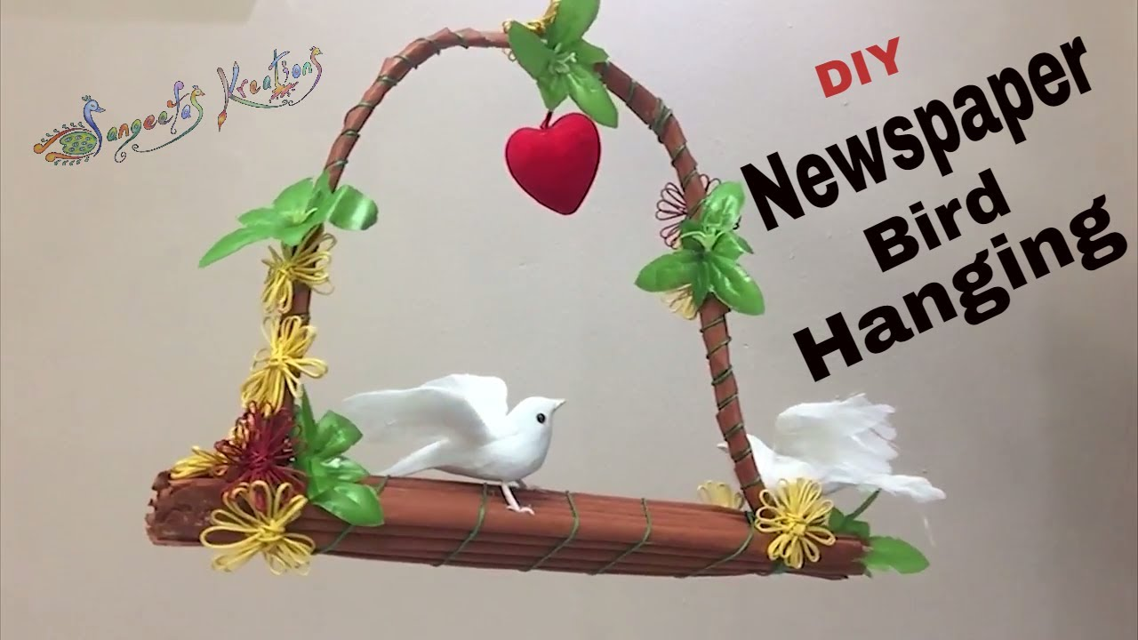 how to make newspaper bird hanging/ diy/ home decor - youtube