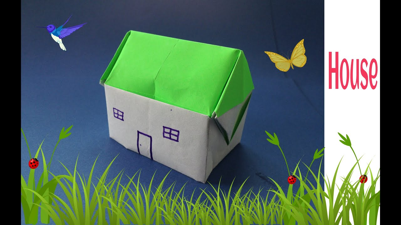Origami paper house 3d youtube for Make my house