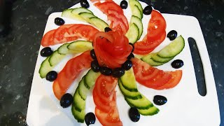 Simple salad design || cucumber, tomatoes and olives|| vegetable carving | by Delicious food recipes