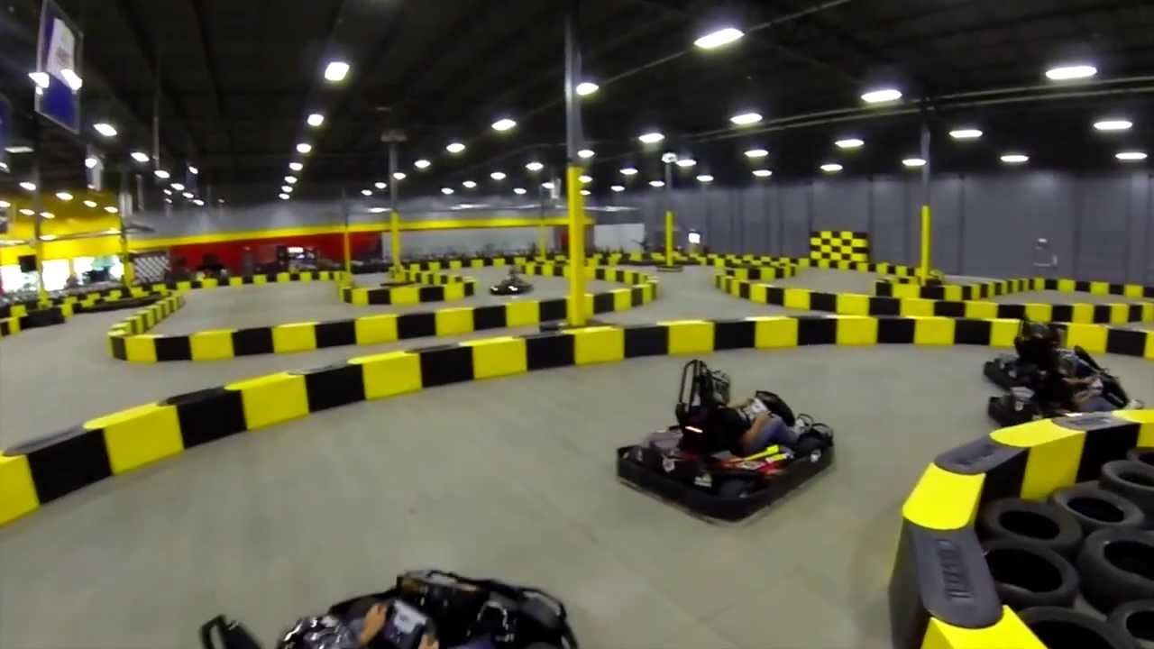 drone delivers view of an indoor go kart track youtube