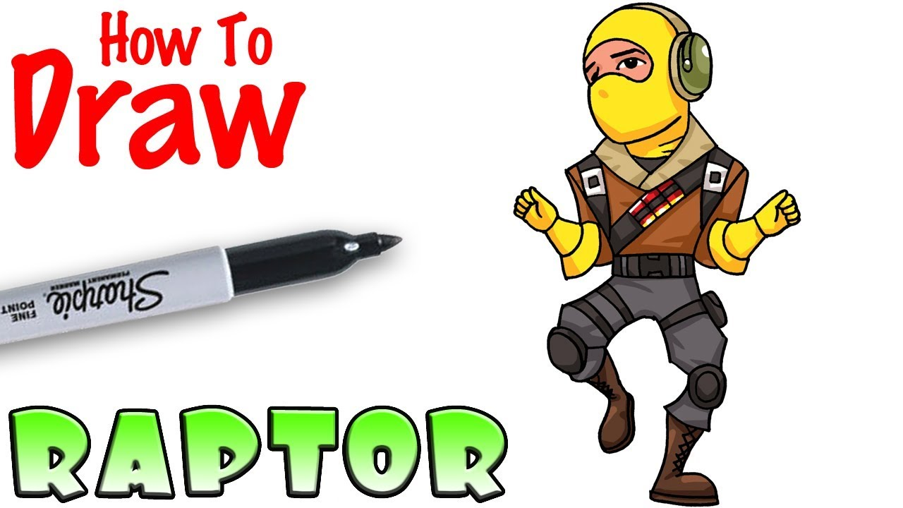 How To Draw Raptor Emote Fortnite Youtube