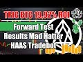 TRIG BTC 19.92% ROI Forward Test Results Mad Hatter Tradebot using FOI Auto Tuner