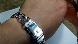 Браслет из серебра ручной работы двойной якорь, замок коробочка. Видеообзор