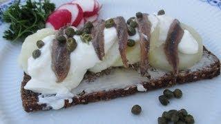 Smørrebrød Danish Potato Anchovy Open Face Sandwich. Inspired By Dish Called Jansson's Temptation