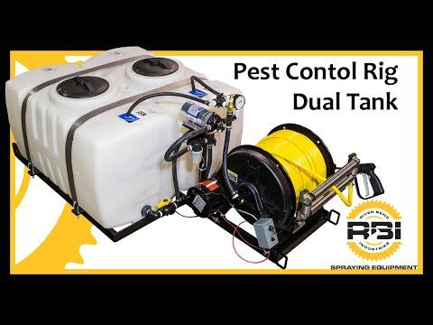 Pest Control Skid Sprayer - Dual 50 Gallon Tanks - Shurflo Pressure Pump - Electric Reel