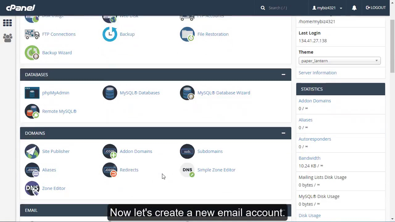 How to create an email account in cPanel?