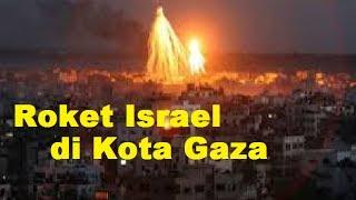Video Roket-Roket Zionis Israel Menghujani Kota Gaza Palestina (44 Orang Tewas) 2014