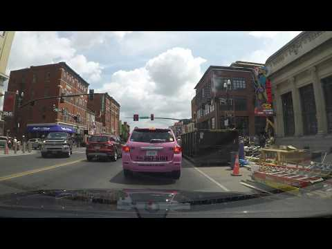 Driving Down Lower Broadway in Nashville
