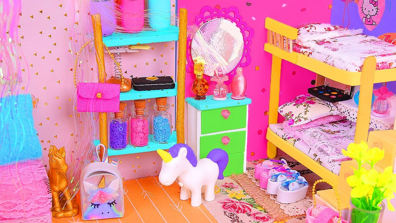 6 DIY Miniature Dollhouse Rooms Bathroom Unicorn Nursery Etc