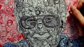"""Drawing """"Stan Lee"""" with over 100 Marvel Characters"""