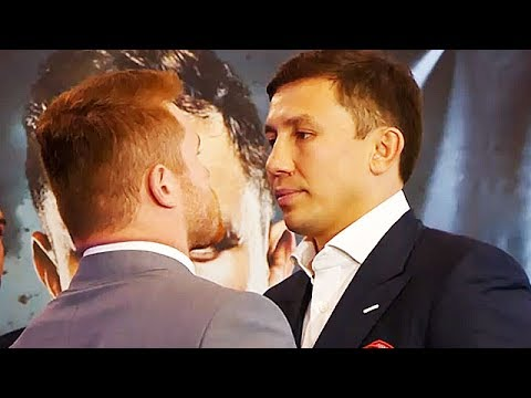 "(WHOA!) GOLOVKIN STARES DOWN CANELO WITH ""I WILL BREAK YOU"" INTENSE LOOK IN HIS EYES AT FACE OFF"