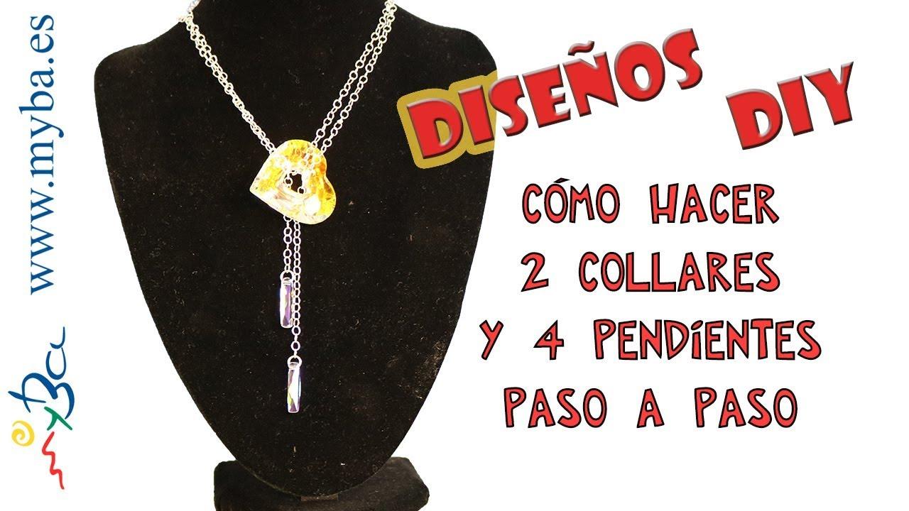 24e230c2dbc8 Cómo hacer 2 collares y 4 pendientes paso a paso. Diseños DIY con corazones  para San Valentín.