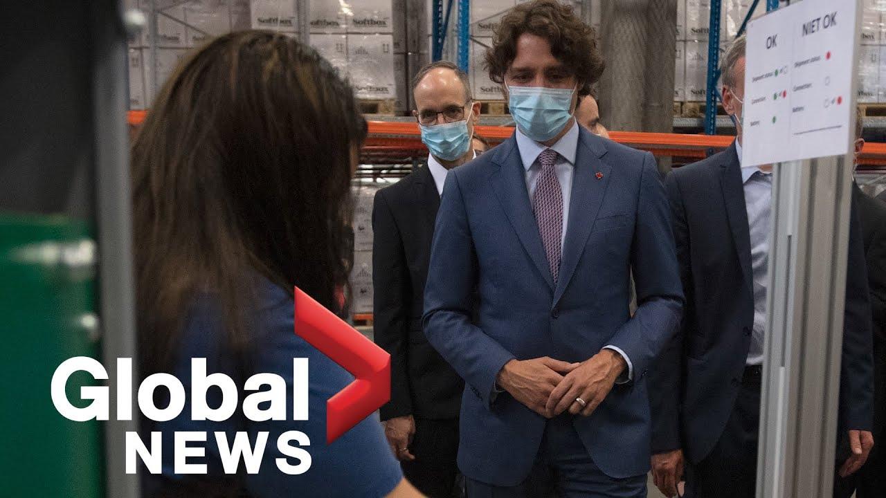 Trudeau visits Pfizer COVID-19 vaccine manufacturing site in Puurs, Belgium