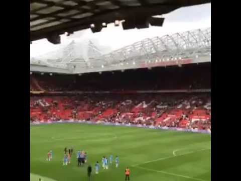 Man City fans singing Blue Moon after victory at Old Trafford on Saturday.