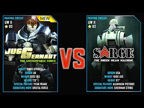 REAL STEEL WRB JUGGERNAUT VS Sarge New Robots UPDATE (Живая сталь)