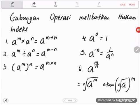Bab 1 Matematik Tingkatan 3 2019 Penyelesaian Masalah Melibatkan Hukum Indeks Youtube