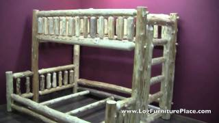 Cedar Lake Twin Over Queen Log Bunk Bed From Logfurnitureplace.com | Cabin Bunk Beds