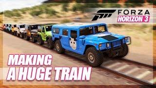 Forza Horizon 3 - Making the Huge Jeep Train! (Wrecks & Fails)
