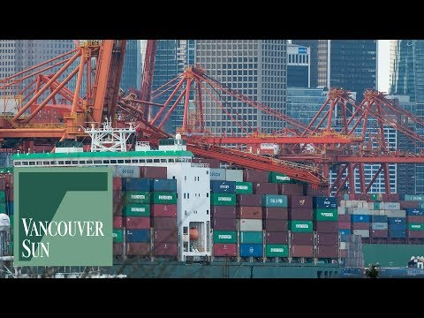 Crane crashes down on container ship at Port of Vancouver