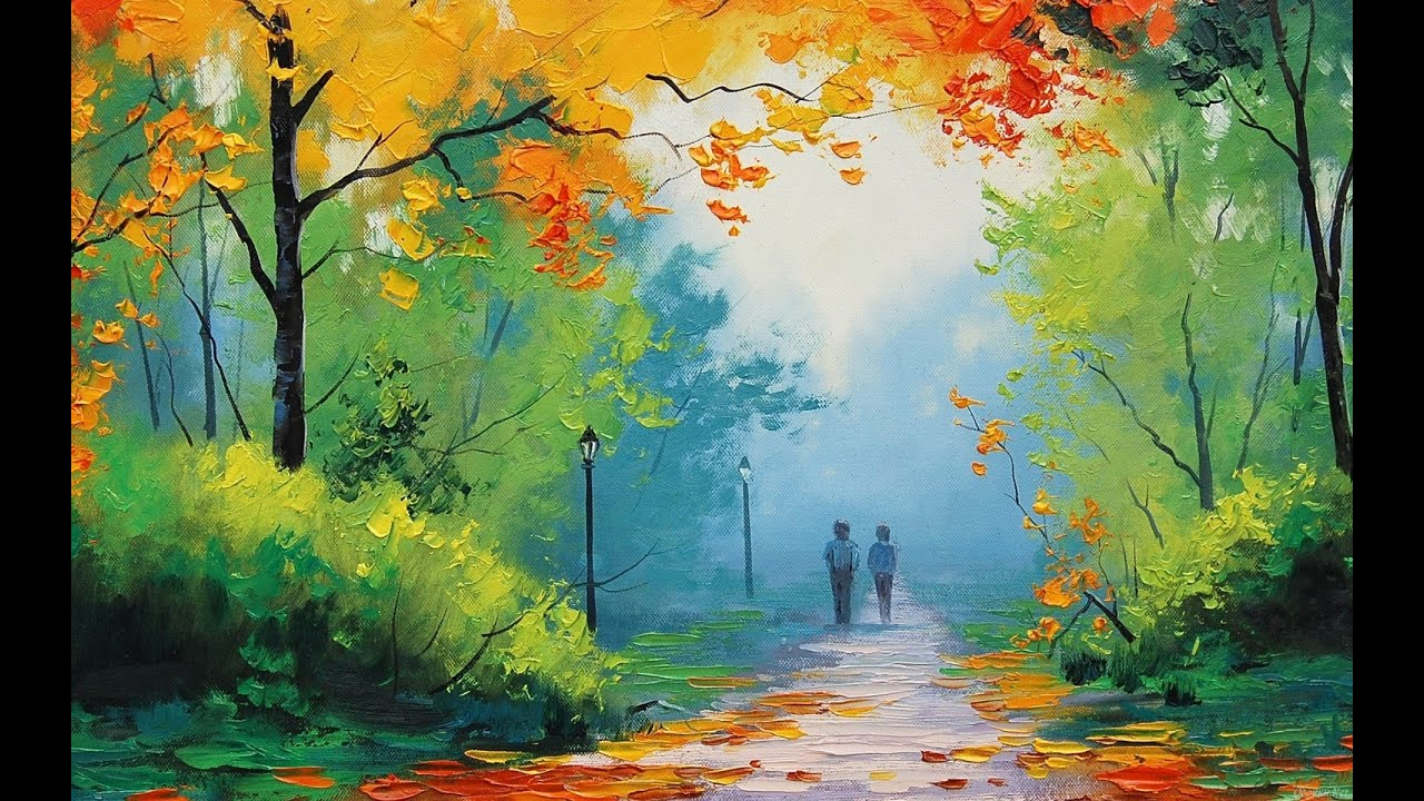 Most beautiful nature paintings painting lessons how to paint trees and bushes in oil painting