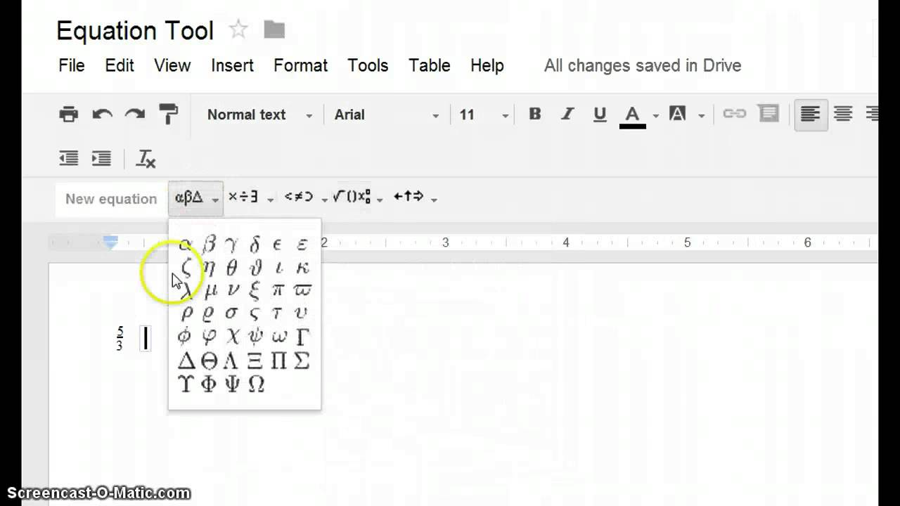 Google Docs Equation Tool Editor Youtube