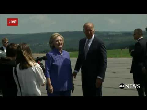 Let her go Joe! VP Joe Biden & Hillary Clinton share extra long hug in Pennsylvania
