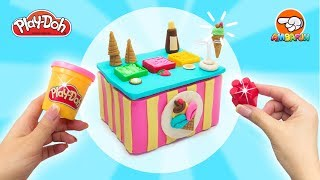 Play Doh Ice Cream Shop. How to make Ice Cream Stand. DIY Dolls Stuff & Toys for Kids Tutorial Video