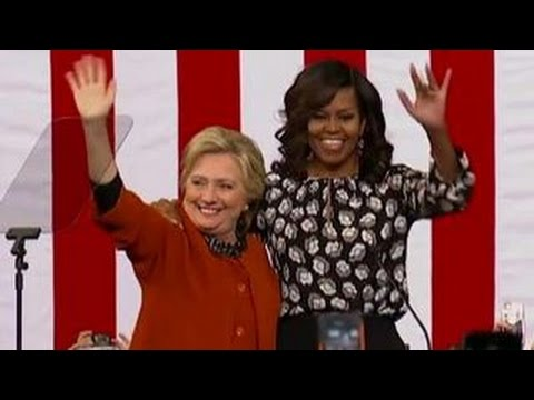 Hillary Clinton, Michelle Obama share stage at rally