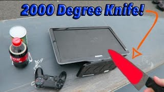 EXPERIMENT Glowing 1000 Degree Knife VS FLATSCREEN TV