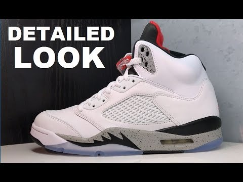 02d87cd0d06a AIR JORDAN 5 WHITE CEMENT RETRO SNEAKER - DETAILED LOOK REVIEW - LOOKS LIKE  A CUSTOM