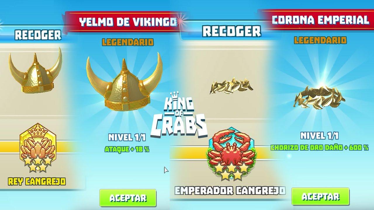 KING OF CRABS LOS CASCOS MAS DIFICILES DE CONSEGUIR: YELMO DE VIKINGO Y CORONA EMPERIAL MAMADISIMA!