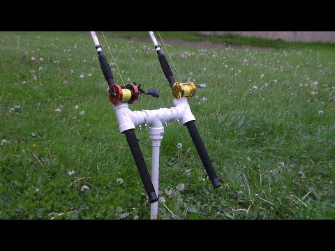 PVC And Rebar Double Rod Holder For Bank Fishing