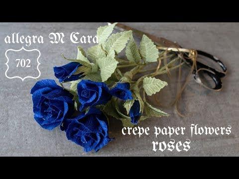 702 DIY Blue Paper Rose/ Pro Paper Flowers Craft Tutorial