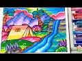 Pemandangan Air Terjun  - Cara Menggambar Dan Mewarnai Dengan Gradasi Warna Oil Pastel Crayon