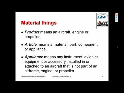Owner Produced Parts For Certificated Aircraft