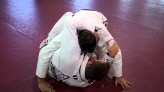 BJJ Lapel Choke from bottom of Half Guard