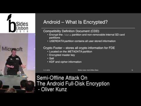 BSides Lisbon 2016 - Semi-Offline Attack on the Android Full-Disk Encryption