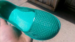 Женские балетки силиконовые резиновые сеточка зеленые