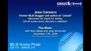 Jose Canseco, former MLB slugger, talks about his book regrets on Sirius|XM Radio
