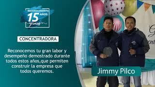 Reconocimiento 15 años de servicio - Jimmy Pilco