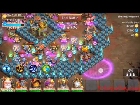 Castle Clash Insane Dungeon 4-4 Without Mino,sm(f2p Heroes Only)