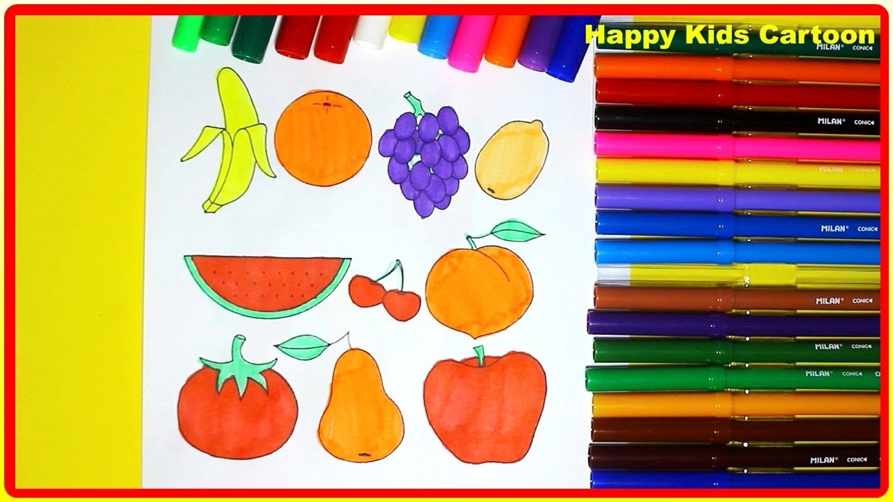 How To Color Fruits Fruits Coloring Pages for Kids Bananas