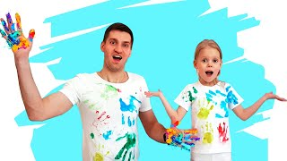 Vitalina Plays with Paint and Funny Daddy T-Shirt