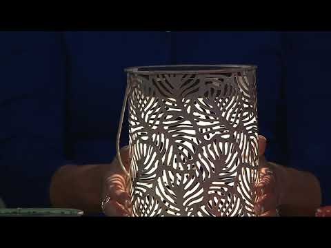 Compass Home Solar Punched Metal Lantern with Shepherd's Hook on QVC