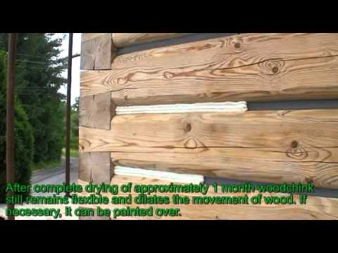 Woodchink Sealing Log Home With Flat Logs Style English