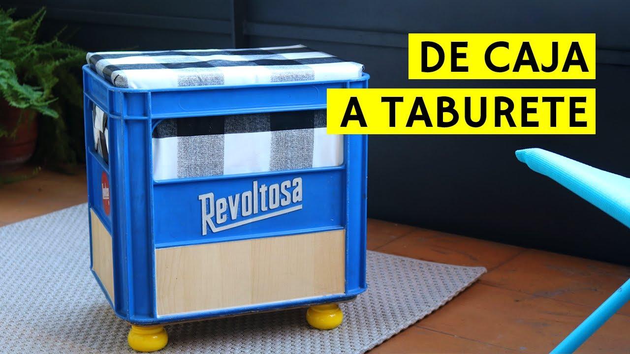 Tutorial c mo hacer un taburete diy reutilizando una caja - Como tapizar un taburete ...