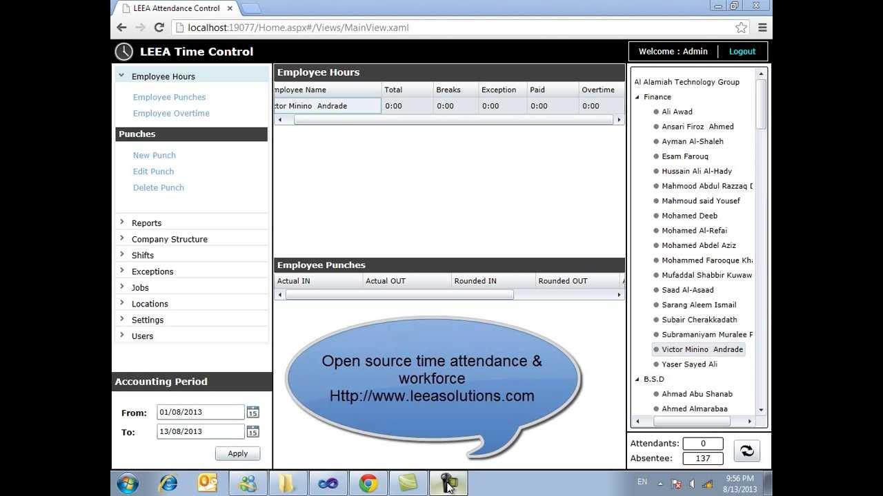 LEEA Open Source Time Attendance & Workforce - Employee Punch