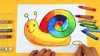Веселая УЛИТКА - РАДУГА урок рисования для детей