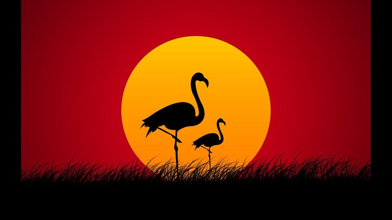 Landscape Illustration Vector Free: Sunset Landscape Illustration